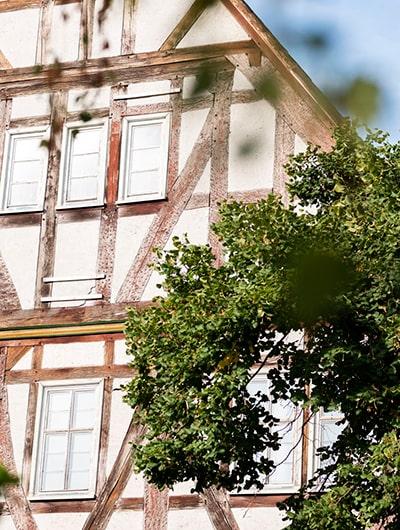 Fassade eines Fachwerkhauses, Baumkrone im Vordergrund