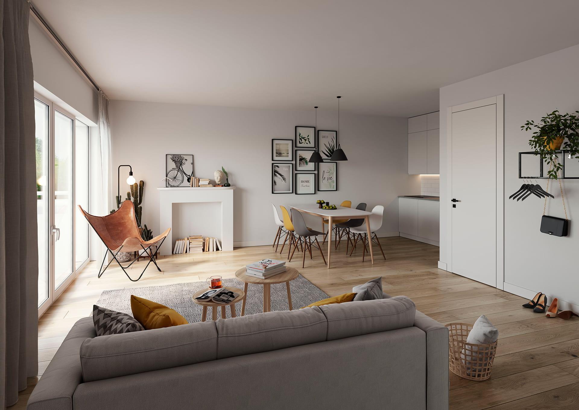 Weiße, geradlinige Küchenzeile, einladender Essbereich, gemütliches Sofa mit Kissen, Sessel am Fenster, Weiß und Grautöne mit senfgelben Farbtupfern, Holz und Leder, moderne Stücke und Designklassiker